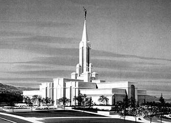 An architect's rendering of the Bountiful Utah Temple