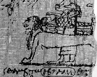 A lion couch scene appears in Leiden Papyrus I 384