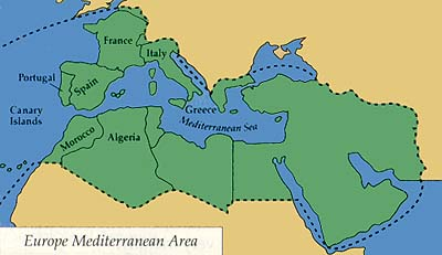 Map of the Mediterranean Area