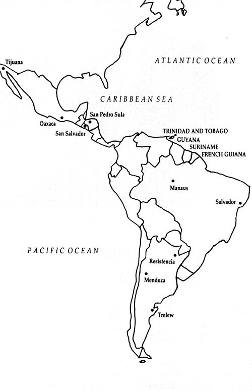 Map of South and Central America
