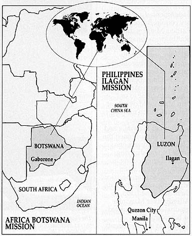 Maps of South Africa and the Philippines