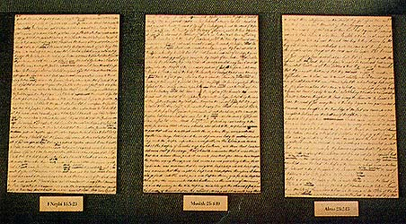 Three sheets from the printer's manuscript of the Book of Mormon