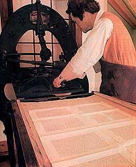 Replica of the hand-operated press that printed the Book of Mormon