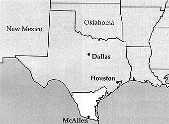 Map of Texas McAllen Mission