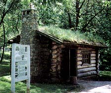 Replica of a typical cabin at Winter Quarters