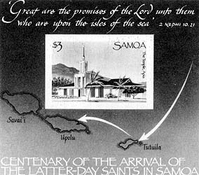 Stamp picturing the Apia Samoa Temple