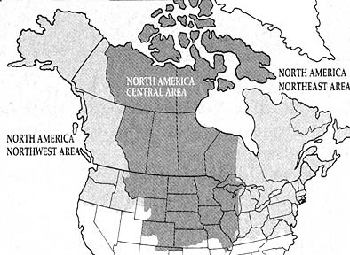 Map of the North America Northwest Area
