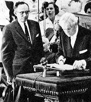President David O. McKay introduces Gordon B. Hinckley