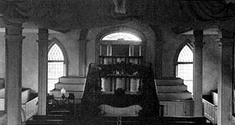 An interior shot of the Kirtland Temple