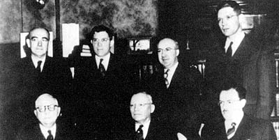 Elder McConkie poses with other members of the First Council of the Seventy in October 1946