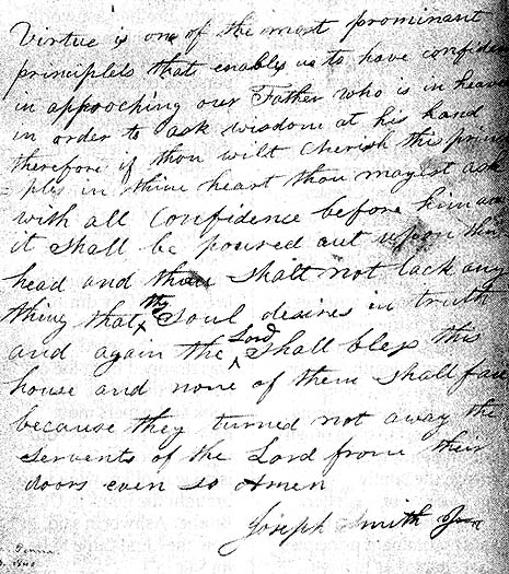 An 1840 letter by the Prophet Joseph Smith