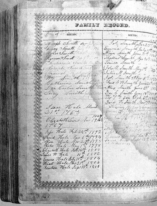 A page from the Joseph Smith, Jr., family Bible