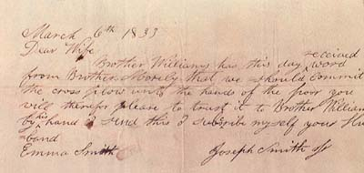 A letter from Joseph Smith to Emma Smith
