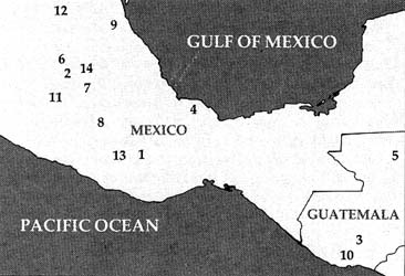 Outline map of part of Mesoamerica