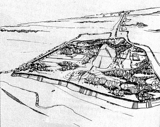 Archaeologists' conception of the fortress at Edzna