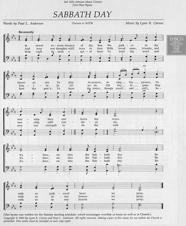 Music, Sabbath Day