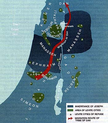 Map of lands of twelve tribes of Israel