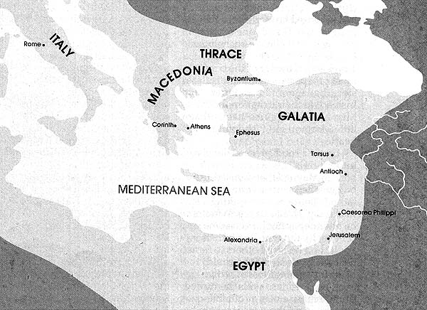 Map of the Roman Empire in the east at the time of Christ