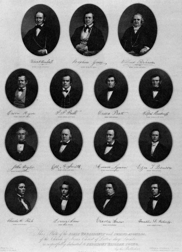 Portraits of members of the First Presidency and the Quorum of the Twelve, 1853