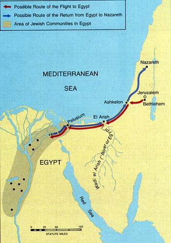 Map of the likely route of the flight to Egypt and return to Nazareth