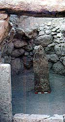 Stone pillar from ancient Syrian tomb burial