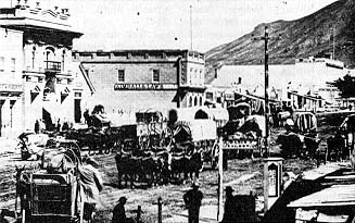 Ox carts in Salt Lake City in the 1860s