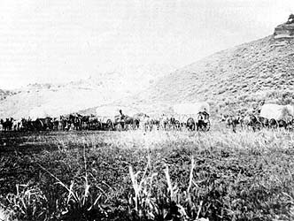 Mormon wagon train entering Echo Canyon, 1867
