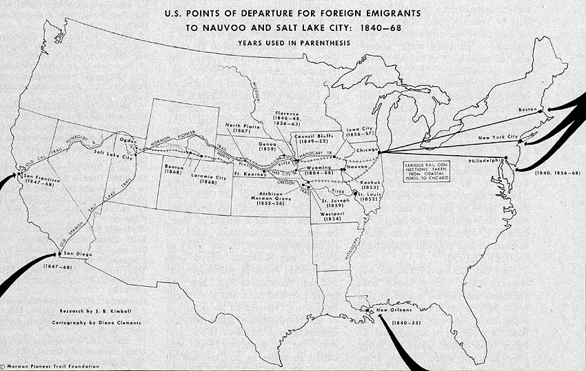 Points of Departure for Foreign Emigrants to Nauvoo and Salt Lake City