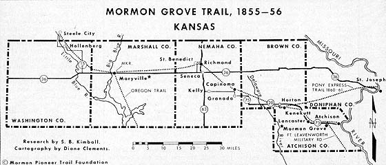 Mormon Grove Trail, 1855–56 Kansas