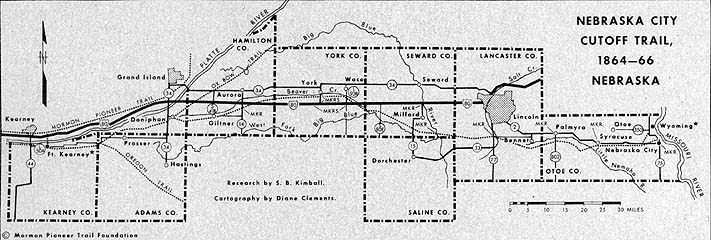 Nebraska City Cutoff Trail, 1864–66 Nebraska