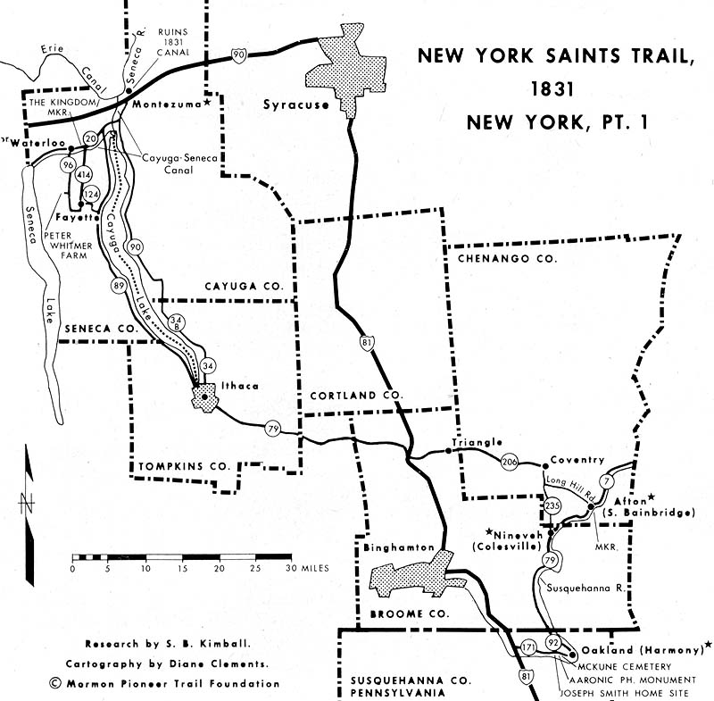 map of New York Saints Trail