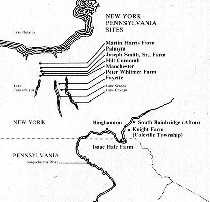 map of New York–Pennsylvania sites