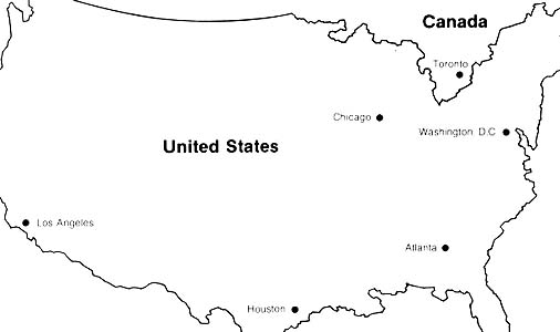 map of United States and Canada