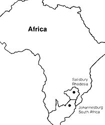 map of South Africa and Rhodesia