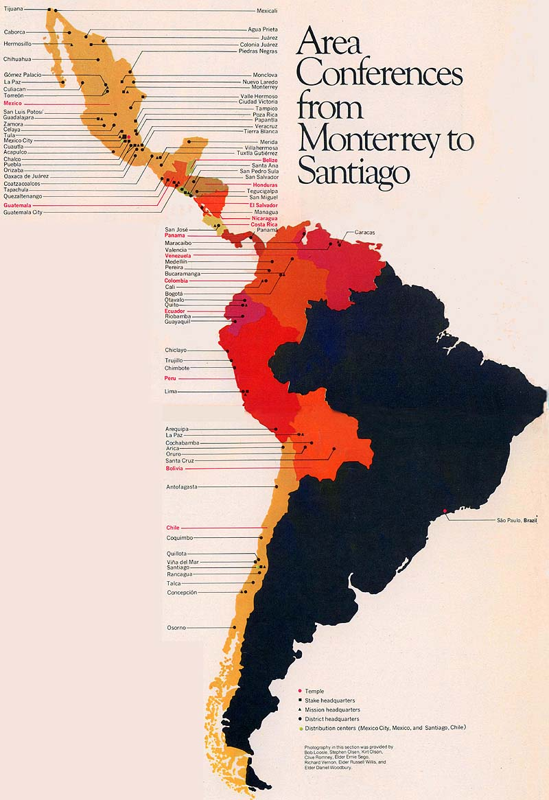 Map fo Central and South America