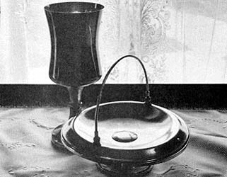 A sacrament tray and cup