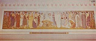Detail of Alberta Temple mural of Adam offering sacrifice