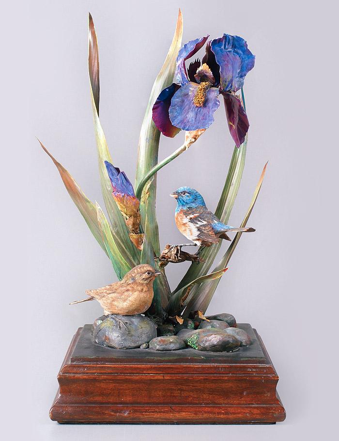 Lazuli Buntings, Iris Flower