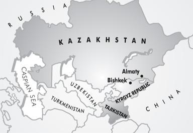 Map of Kazakhstan, Kyrgyz Republic