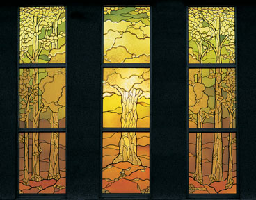 Stained glass windows in the celestial room