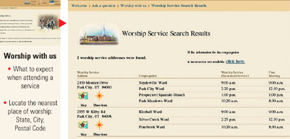 "Web page for ""Worship with us"