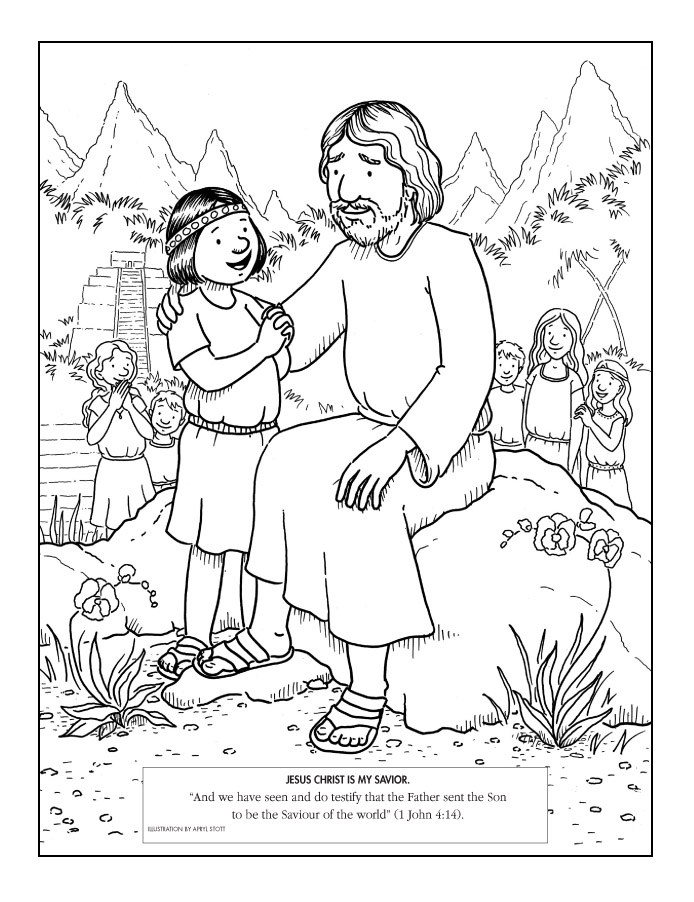 jesus with a child - Primary Coloring Pages