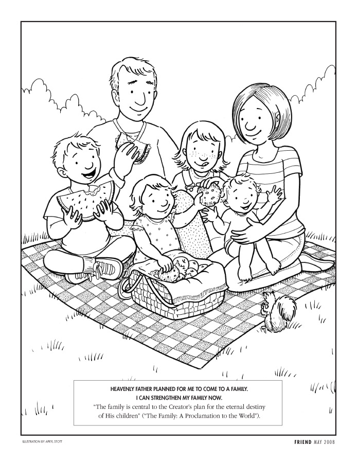 Behold Your Little Ones Lesson 13 My Family Can Be Lds Coloring Pages Family