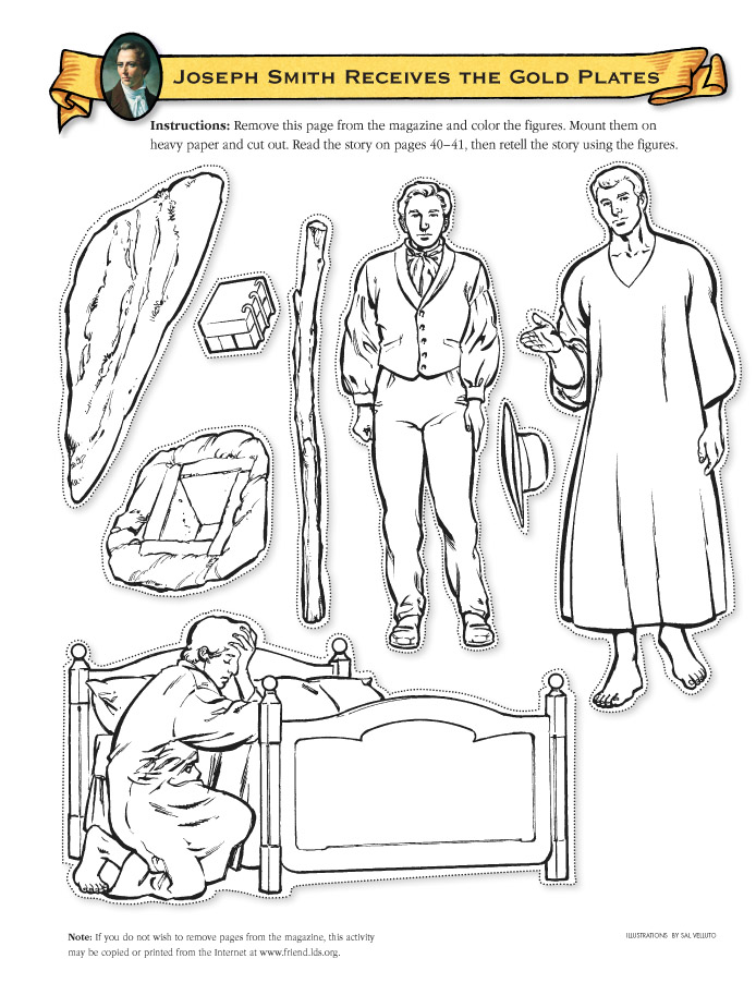Joseph Smith Receives The Gold Plates Mini Pictures That Can Be Colored And Used As Flannel Board Figures To Tell Story Praying By His Bed