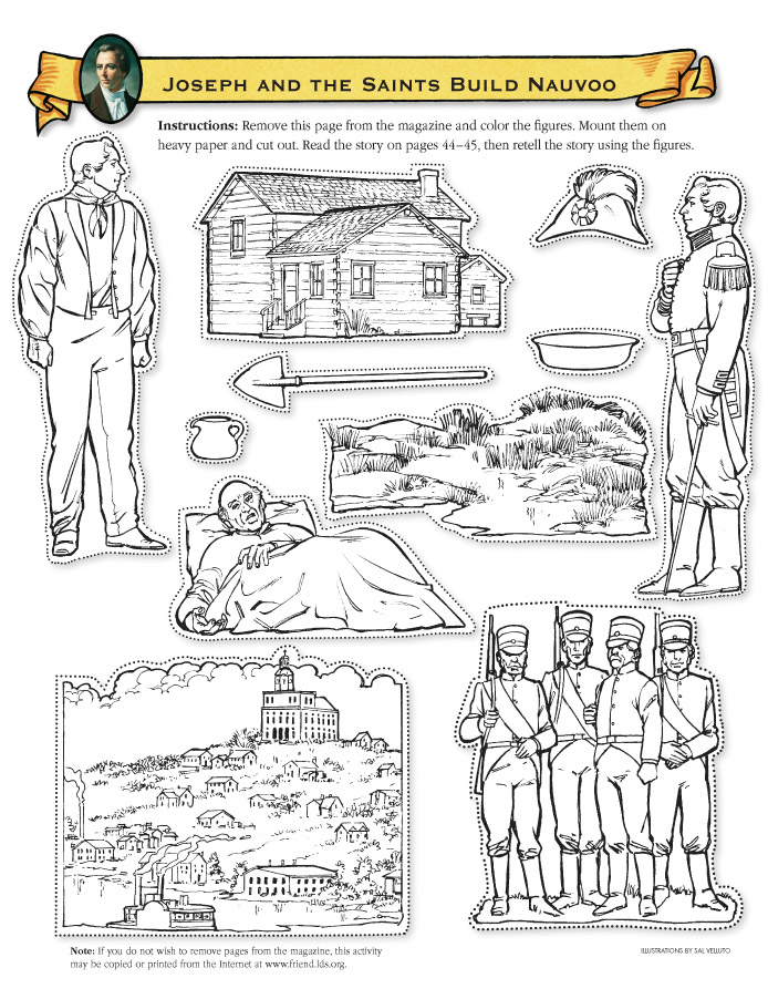 Joseph and the saints build nauvoo friend for Lds pioneer coloring pages