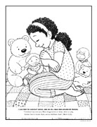 coloring page, girl praying