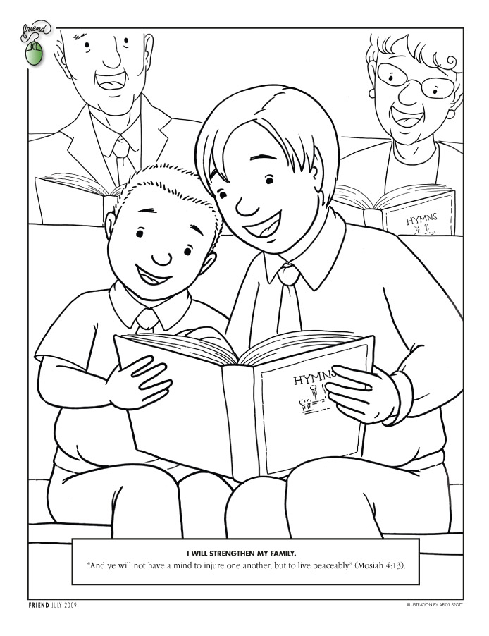 A Coloring Page Of Young Man And Boy Sharing Hymn Book With An Older Woman In The Background Quotation From