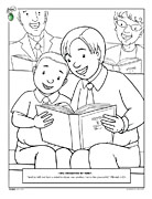 A boy helping his younger brother sing from the hymnbook