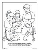 A family kneeling in prayer
