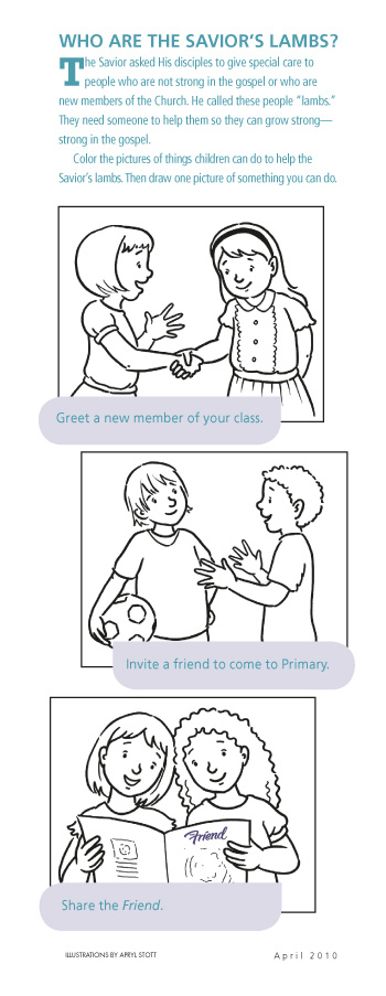 Lds Coloring Pages Forgiveness.  Who Are the Savior s Lambs Friendship